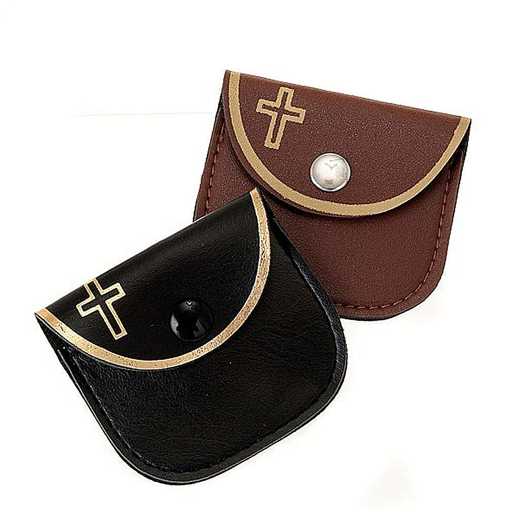 Leatherette golden cross rosary case 4