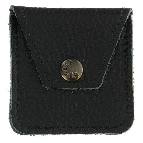 Leather rosary case black 1