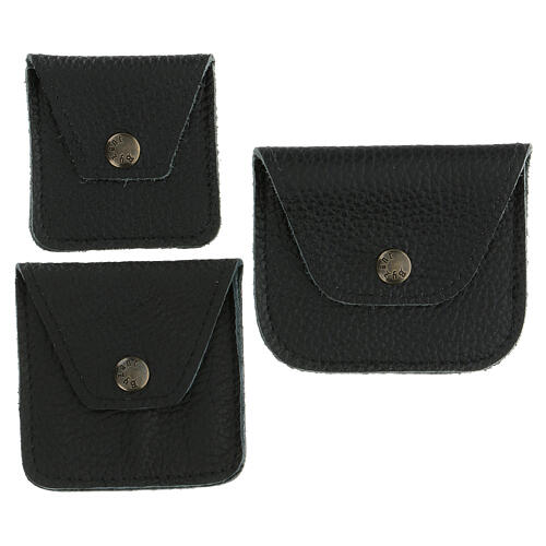 Leather rosary case black 2