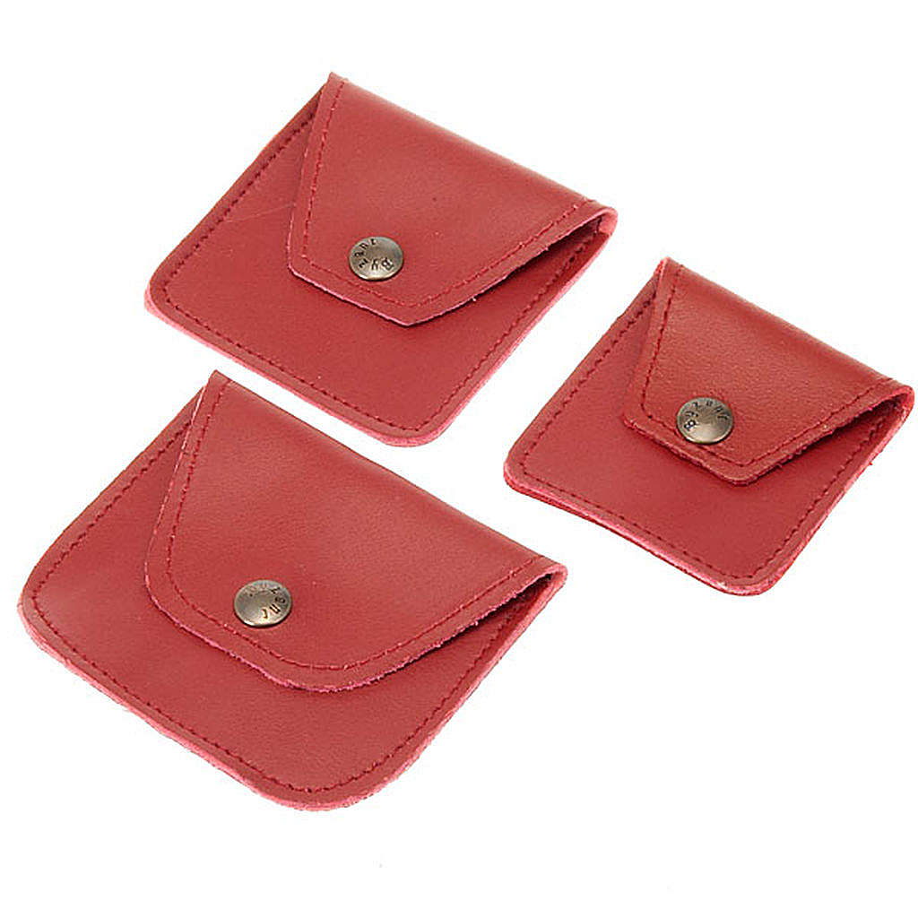 Leather rosary case, maroon 4