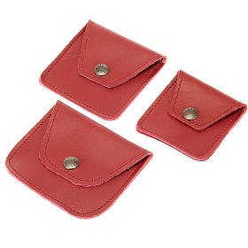 Leather rosary case, maroon s1