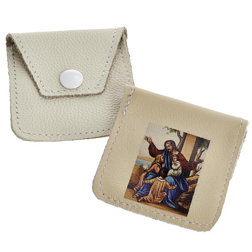 Leather rosary case with image 1
