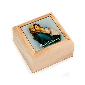 Boîte pour chapelet en bois d'olivier, Vierge du Ferr s1