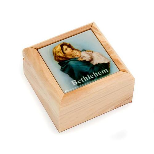 Boîte pour chapelet en bois d'olivier, Vierge du Ferr 1