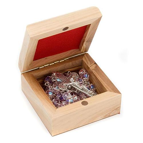 Boîte pour chapelet en bois d'olivier, Vierge du Ferr 2