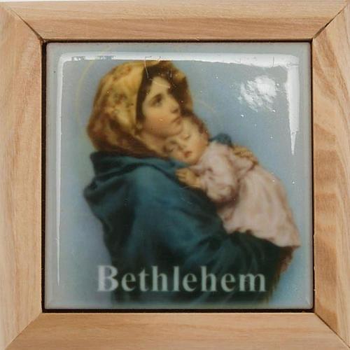 Boîte pour chapelet en bois d'olivier, Vierge du Ferr 3