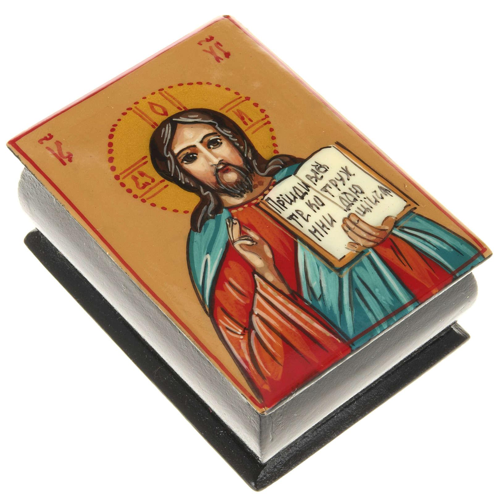 Portarosario icona dipinta mano Pantocratore 4