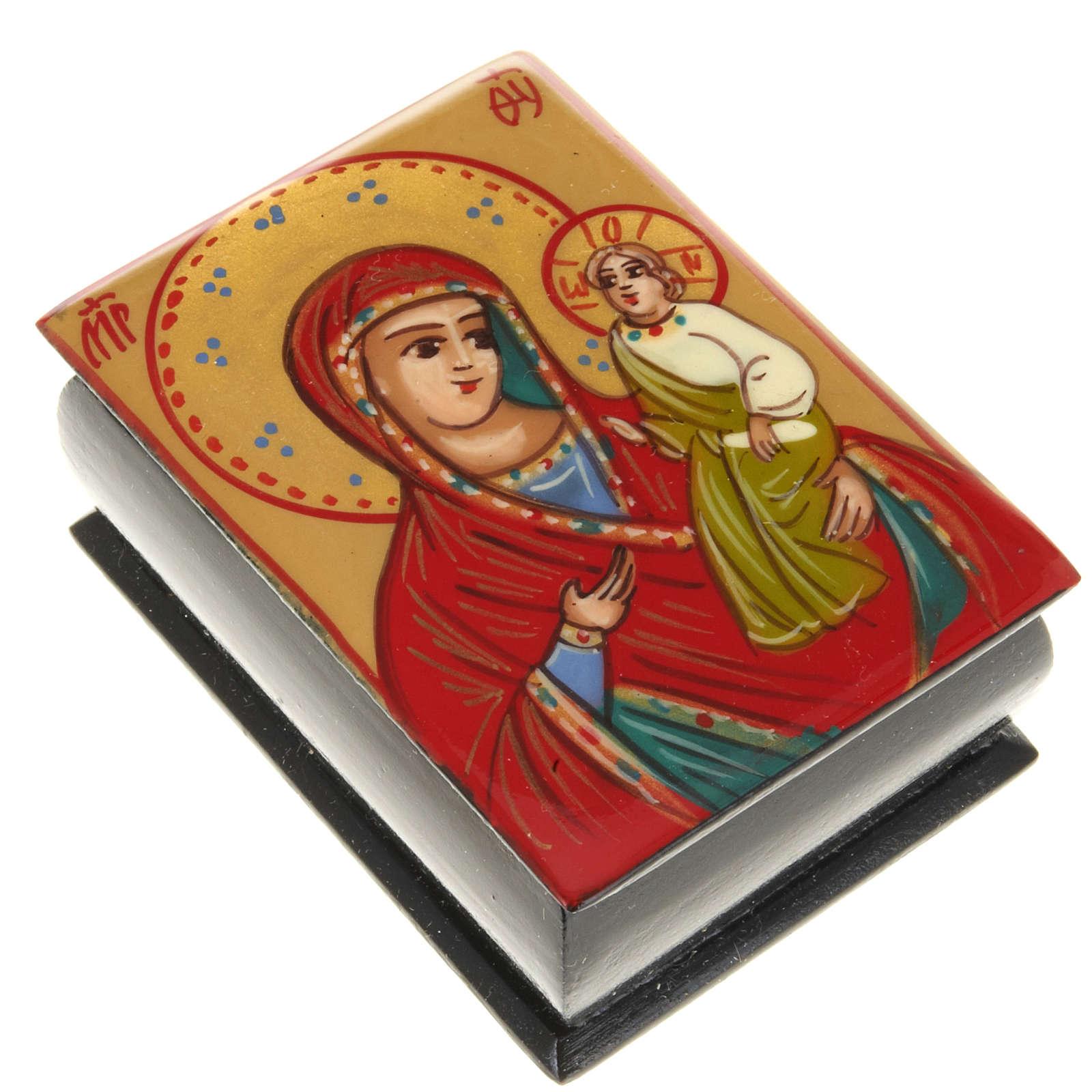Portarosario icona dipinta Vergine con bimbo 4
