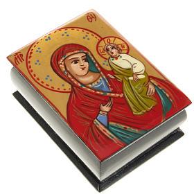 Portarosario icona dipinta Vergine con bimbo s1