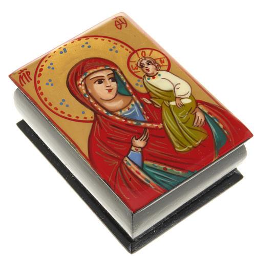 Portarosario icona dipinta Vergine con bimbo 1
