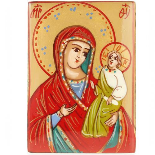 Portarosario icona dipinta Vergine con bimbo 2