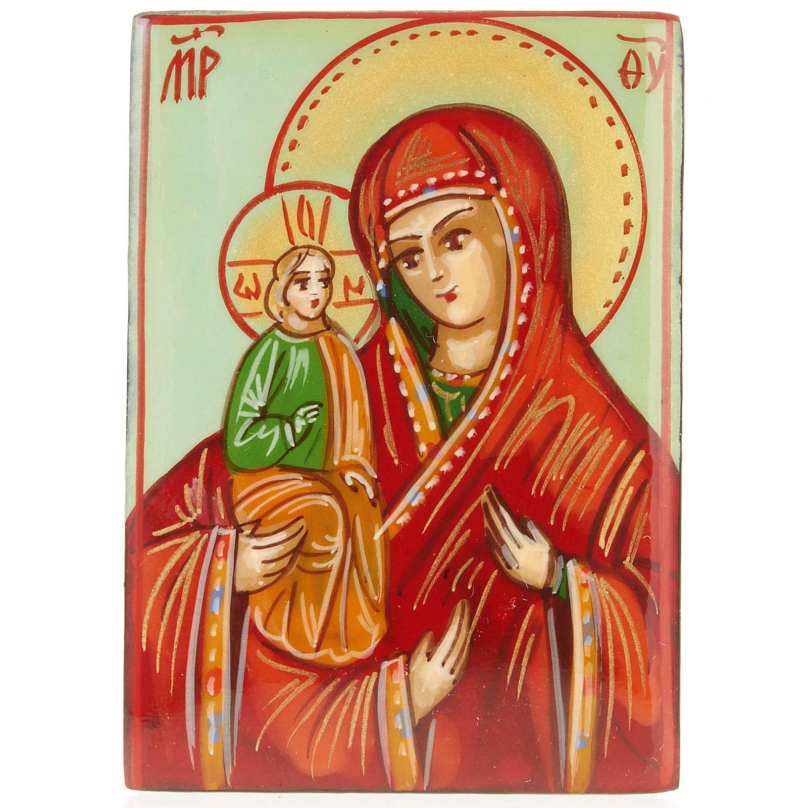 Portarosario icona dipinta Madonna con bimbo 4