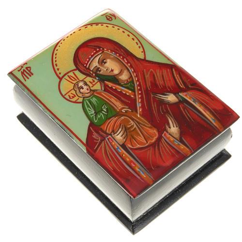 Portarosario icona dipinta Madonna con bimbo 1