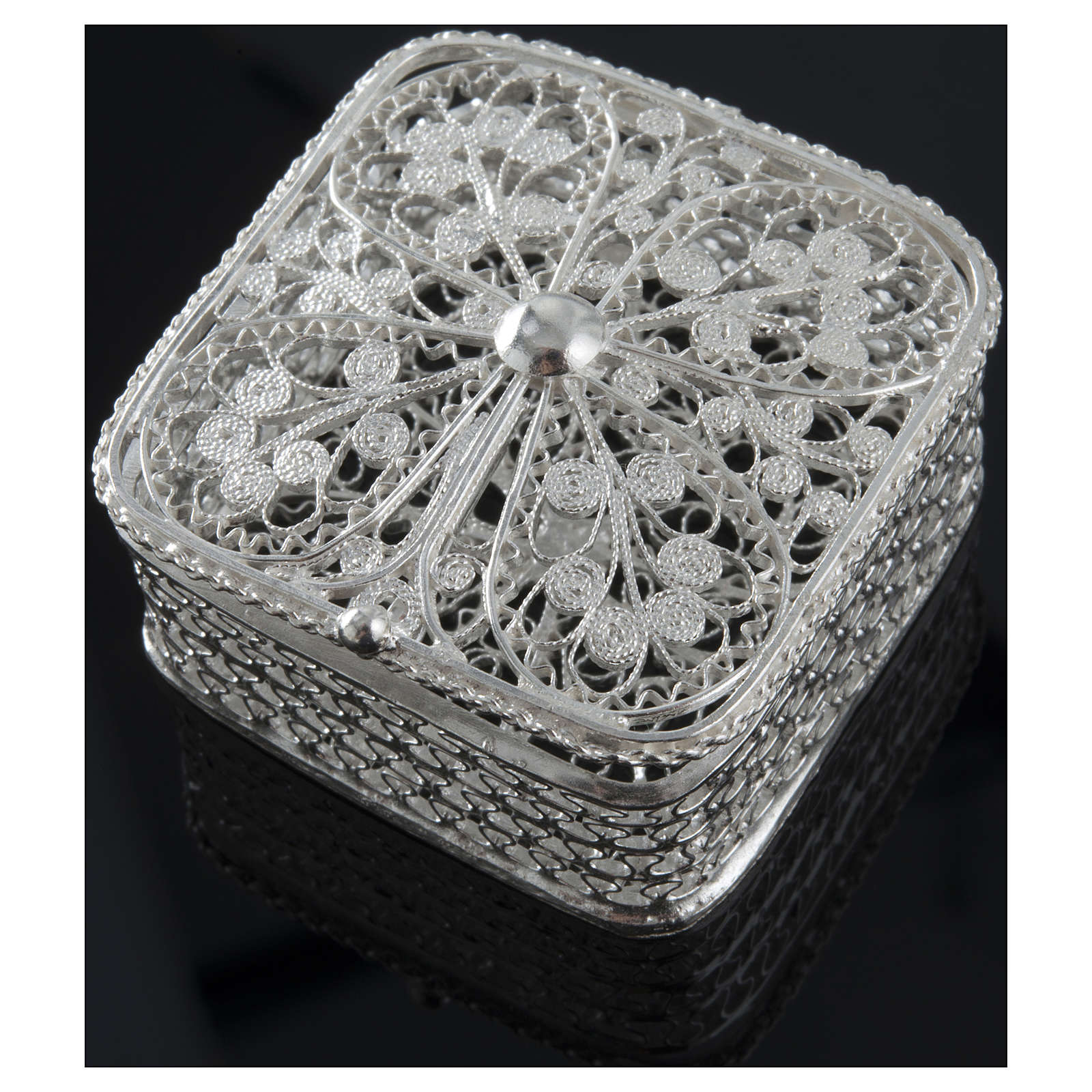Rosary case, squared in 800 silver 4