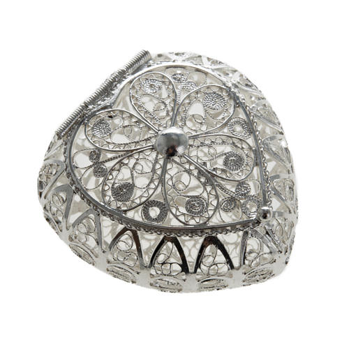 Rosenkranz Kästchen Silber 800, Filigran, Herz 1