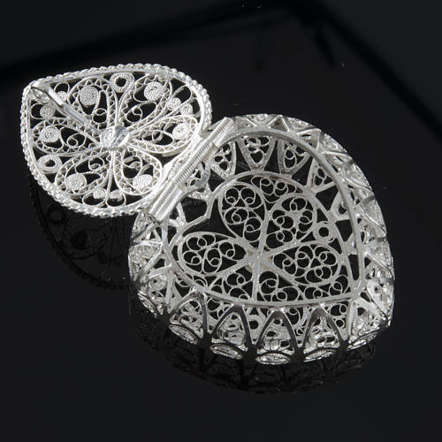 Rosary case, heart-shaped in 800 silver 3