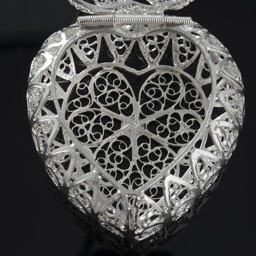 Rosary case, heart-shaped in 800 silver 6