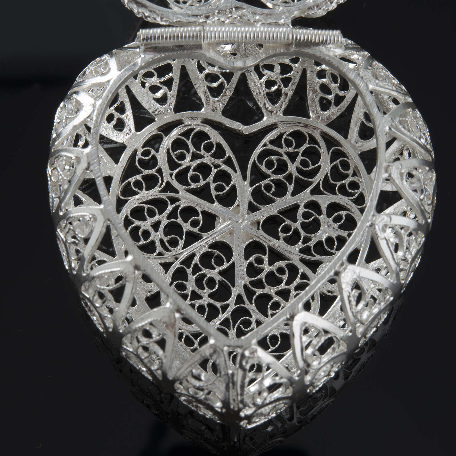 Pudełeczko na różaniec Ag 800 filigran serce 4