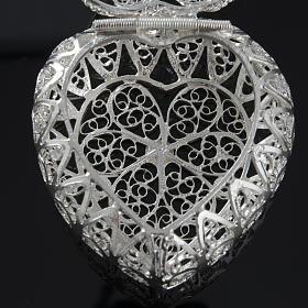 Pudełeczko na różaniec Ag 800 filigran serce s6