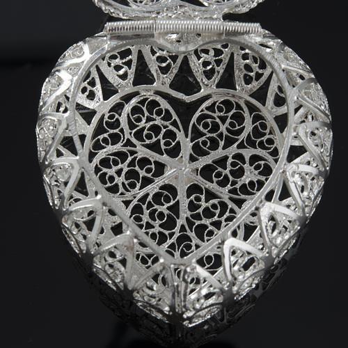 Pudełeczko na różaniec Ag 800 filigran serce 6