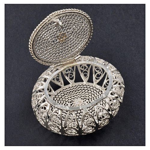 Portarosario scatolina filigrana argento 800 5