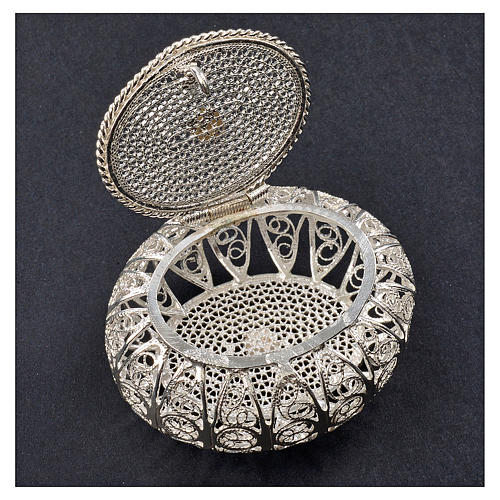 Portarosario scatolina filigrana argento 800 2