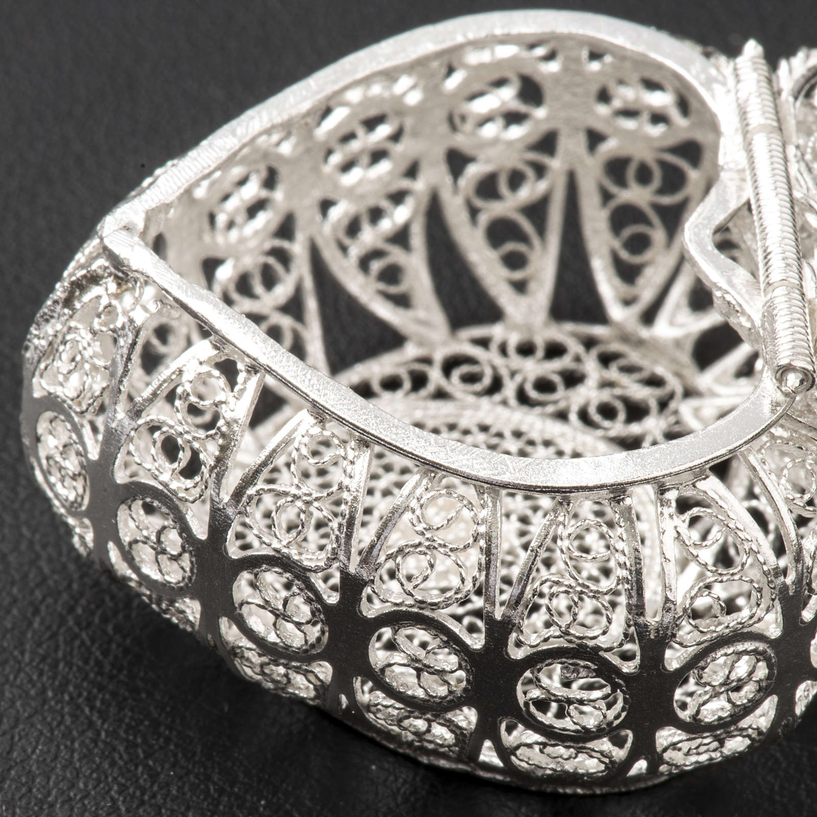 Portarosario cuore argento 800 filigrana 4