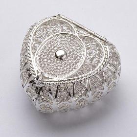 Portarosario cuore argento 800 filigrana s1