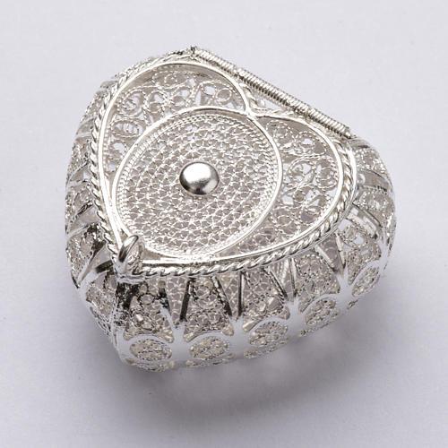 Portarosario cuore argento 800 filigrana 1