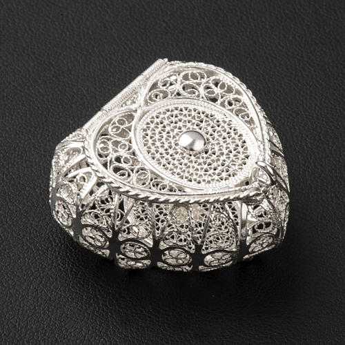 Portarosario cuore argento 800 filigrana 2