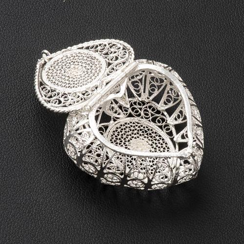 Portarosario cuore argento 800 filigrana 3