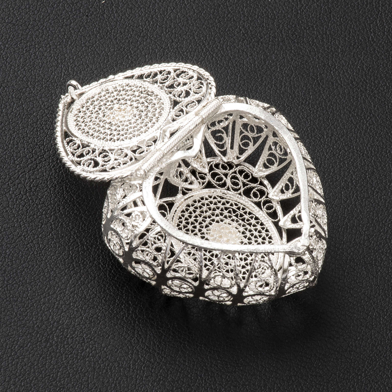 Rosary case, heart in 800 silver filigree 4