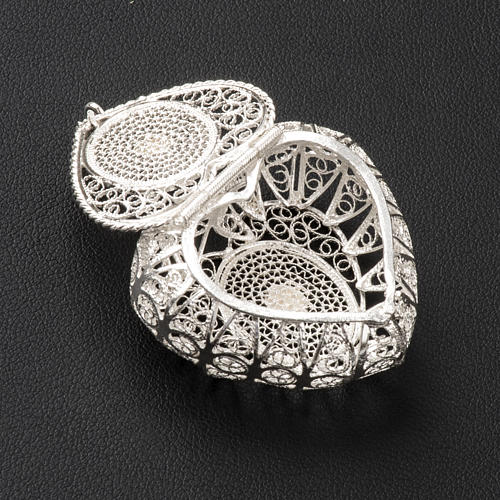 Rosary case, heart in 800 silver filigree 3