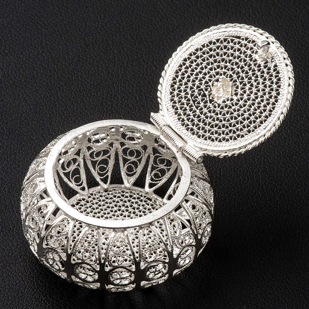 Szkatułka na różaniec okrągła srebro 800 filigran 4