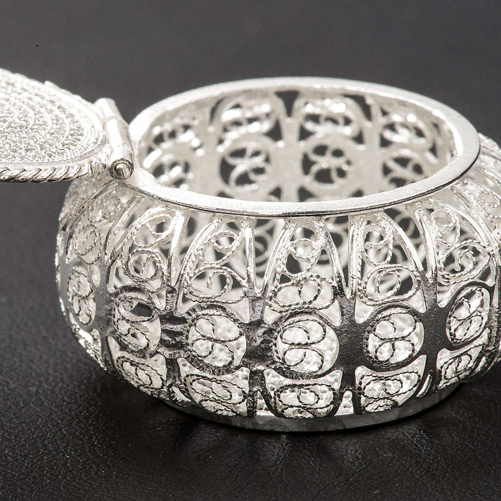 Caixa para terço redonda prata 800 filigrana 4