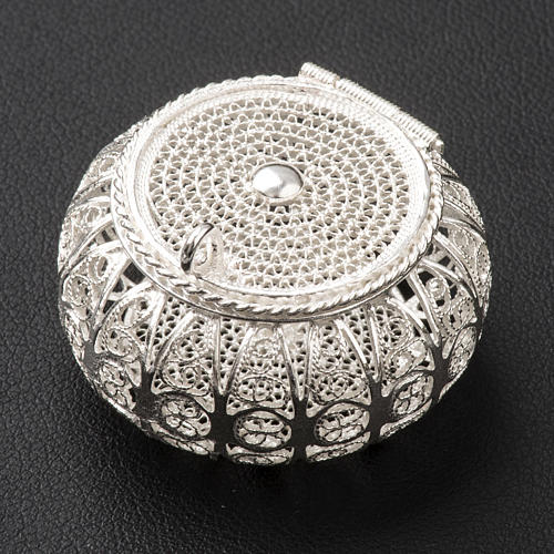 Caixa para terço redonda prata 800 filigrana 2