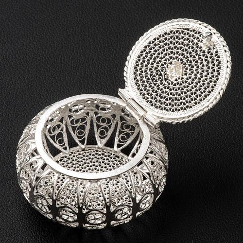 Caixa para terço redonda prata 800 filigrana 3