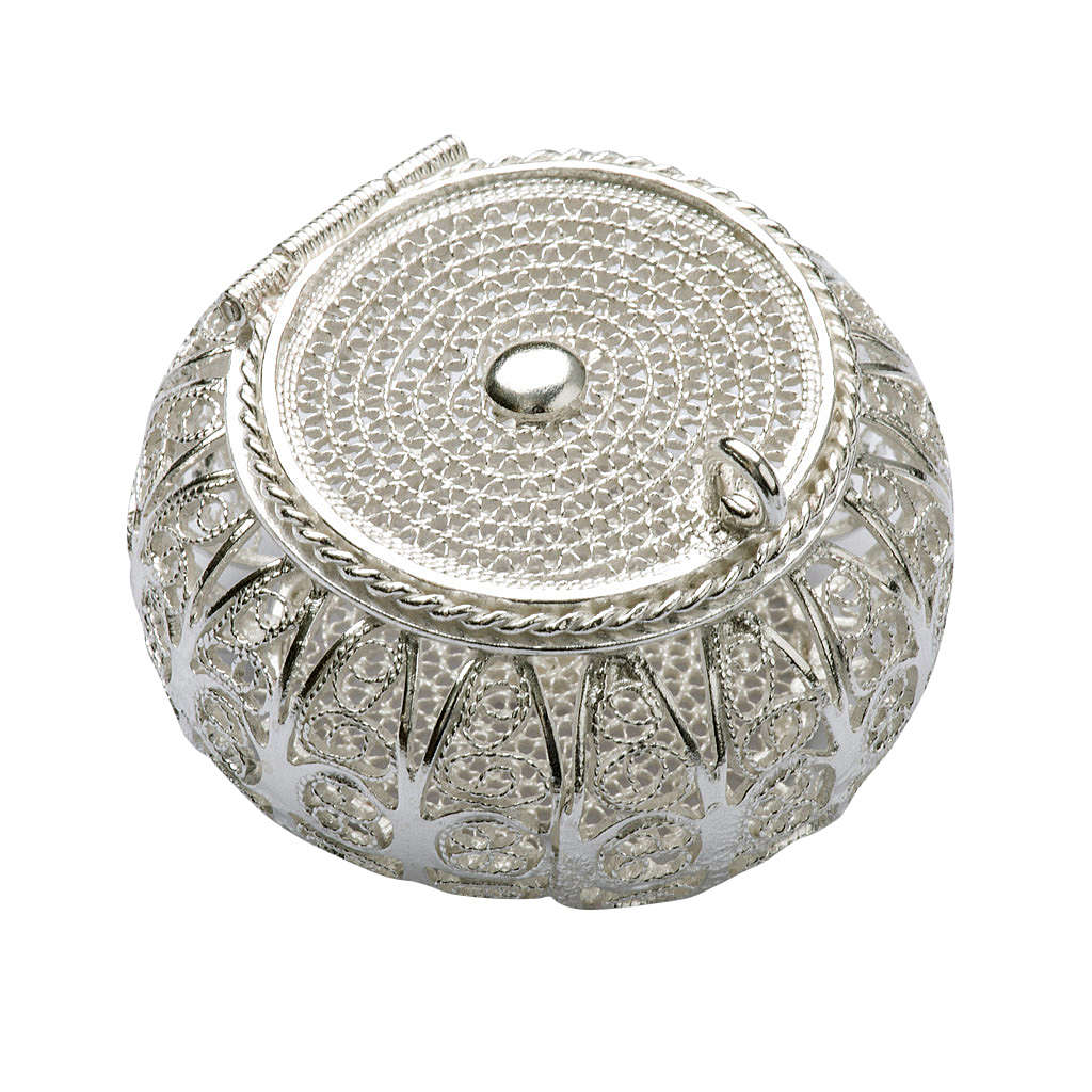 Rosary case, round in 800 silver filigree 4