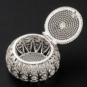 Rosary case, round in 800 silver filigree s3