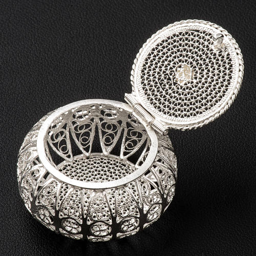 Rosary case, round in 800 silver filigree 3