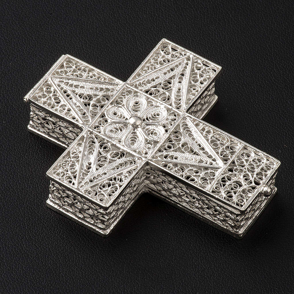 Portarosario cruz plata 800 filigrana 4
