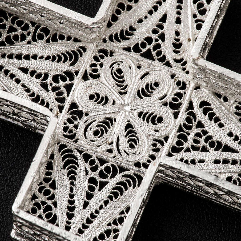 Boite à chapelet croix en filigrane d'argent 800 4