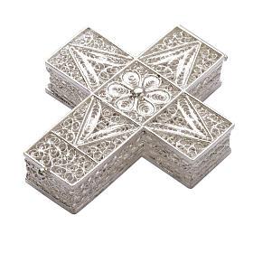 Boite à chapelet croix en filigrane d'argent 800 s1