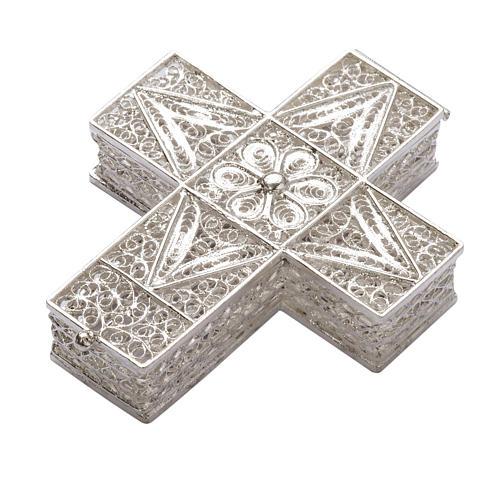 Boite à chapelet croix en filigrane d'argent 800 1