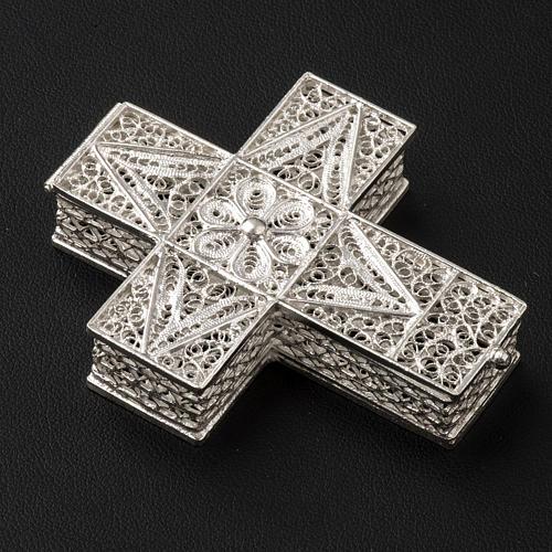 Boite à chapelet croix en filigrane d'argent 800 2