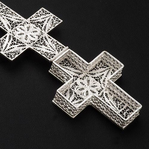 Boite à chapelet croix en filigrane d'argent 800 3
