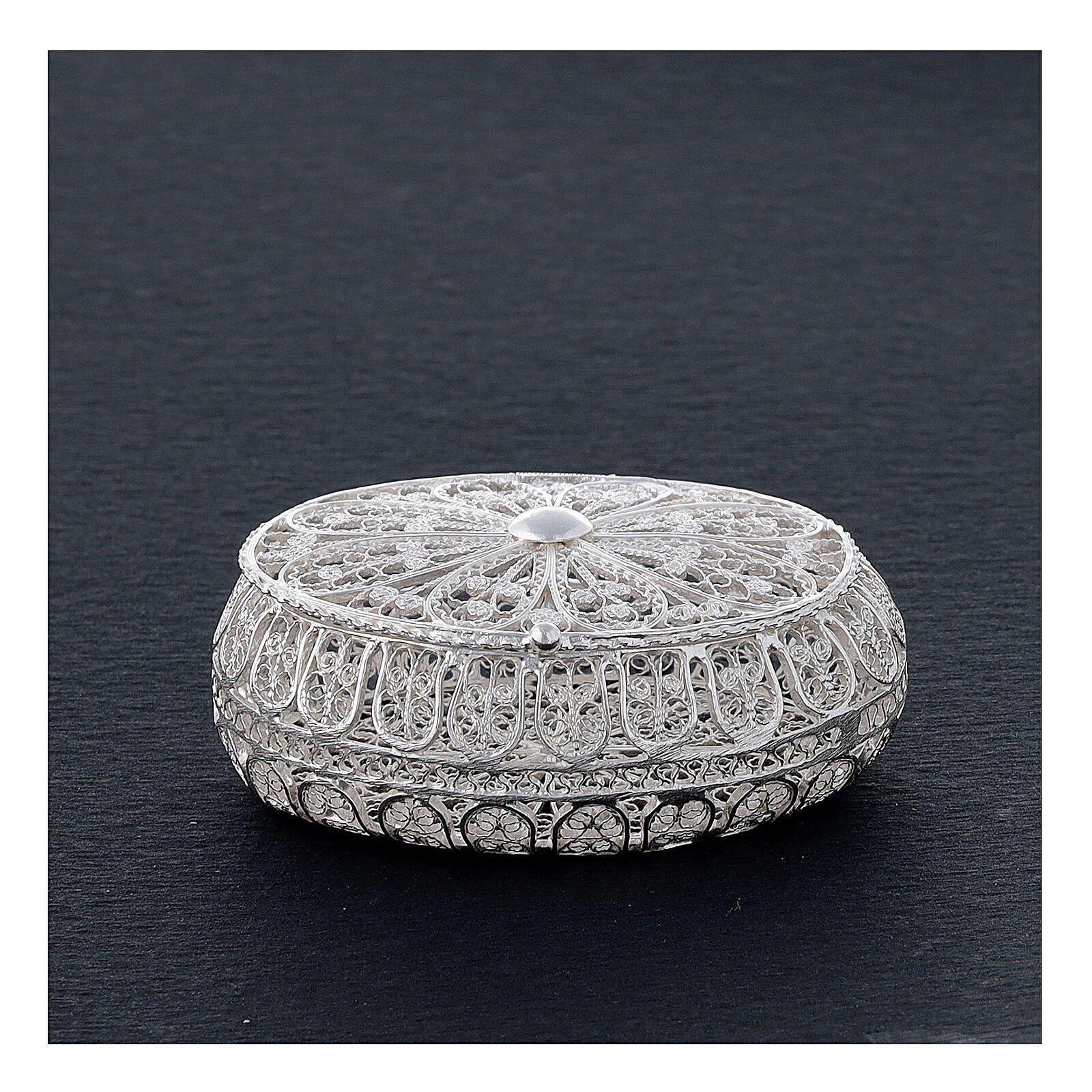 Estuche para rosario filigrana plata 800 ovalado 5,5x4,5 cm 4