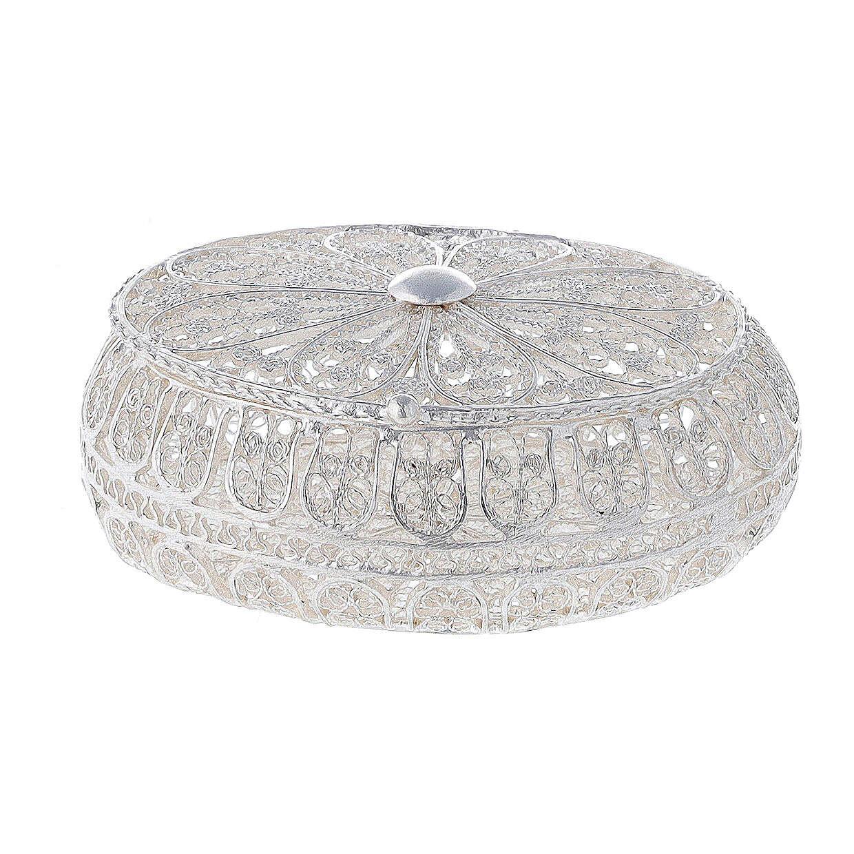 Étui à chapelet filigrane argent 800 ovale 5,5x4,5 cm 4