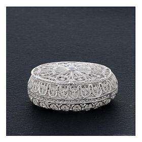 Étui à chapelet filigrane argent 800 ovale 5,5x4,5 cm s2