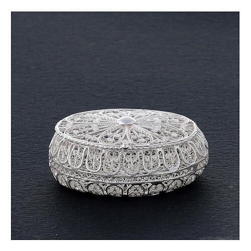 Étui à chapelet filigrane argent 800 ovale 5,5x4,5 cm 2